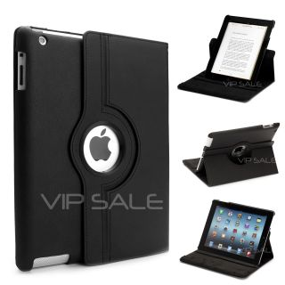 Apple iPad 3 Black Leather Case with 360 Rotating Stand Fast Shipping