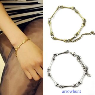 New Coming Cool Rock Punk Gothic Metal Bone Chain Bracelet Bronze