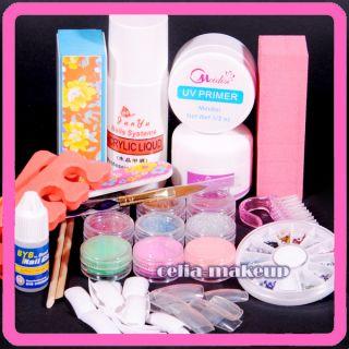Acrylic Nail Powder Liquid Kits Art Gems Pen Brush Toes Tips Kit