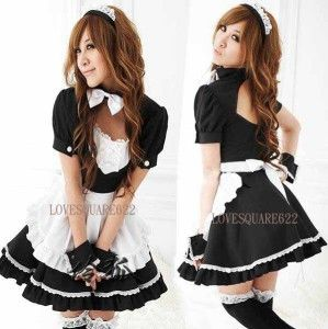 Lovely Costume Black White French Maid Fancy Outfit + Headband