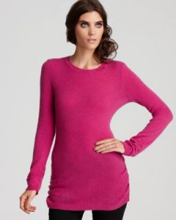 Aqua New Pink Cashmere Ribbed Trim Long Sleeve Crew Neck Tunic Sweater