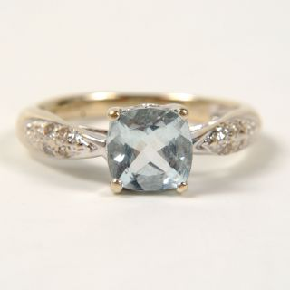10k White Gold 3/4ct Princess Aquamarine+Diamond Ring 1.3dwt Size 3.75