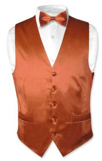 Biagio Mens Solid Burnt Orange Silk Dress Vest Bow Tie Set