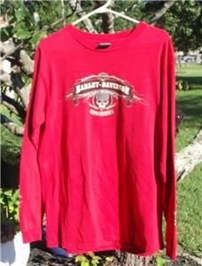 Harley Davidson® Long Sleeve Mens T Shirt RED Size Large Skull