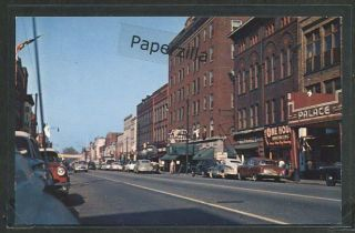 Ohio Ashtabula c1950 Main Street Scene Store Fronts Car