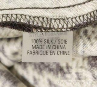 Elie Tahari Cream Brown Snake Print Silk Sleeveless Dress Size s P