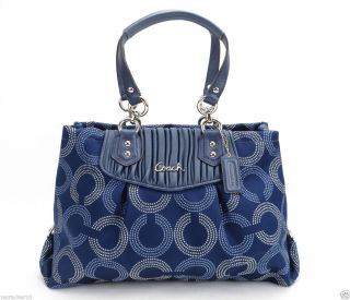 NEW Coach Ashley Gathered Dotted OP Art Carryall Handbag Blue F20056