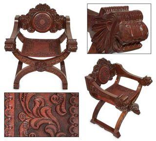 THE KINGS CHAIR Peru Artisan Hand Tooled Leather & Cedar Throne LION