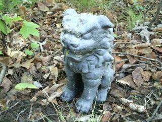 Vintage Cement 9 5 Foo Dog Asian Oriental Garden Statue Concrete
