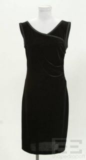 Armani COLLEZIONI Black Velvet Sleeveless Satin Trim Sheath Dress Size