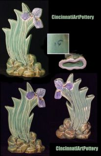 Weller Pottery 10 1 2 Ardsley Iris Five Step Vase