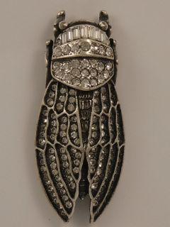 Askew London Large Cicada Brooch and Scarab Drop Earrings