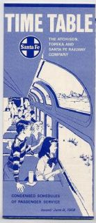 Atchison Topeka and Santa FE Railway Company Time Table June 8 1969