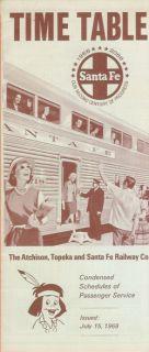 Atchison Topeka Santa Fe Railway Co Time Table 1968