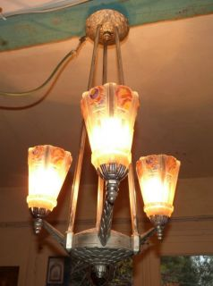 ANTIQUE FRENCH ART DECO CHANDELIER SUSPENSION LAMP LIGHTING FIXTURE