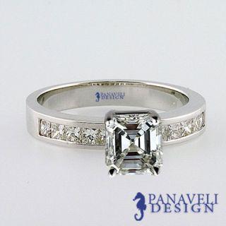 Style 1 20 Ct Asscher Cut Diamond Engagement Ring Platinum