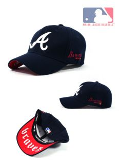 AT02 Dark Blue Atlanta Braves Baseball Cap White Logo One Size Fits