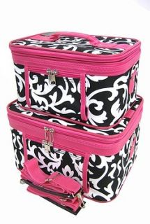 Black Pink Damask Cosmetic 2 Piece Train Set Luggage