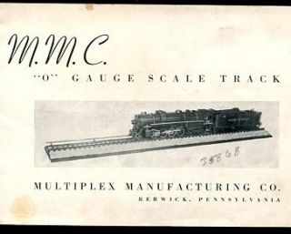 Multiplex Man Co O Gauge Scale 2 Rail Track Catalog 1938