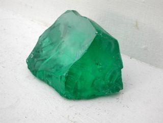 Translucent Emerald Green Slag Glass Rock Specimen   3 POUNDS