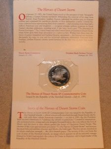 1991 $5 MARSHALL ISLANDS HEROES OF DESERT STORM COMMEMORATIVE COIN