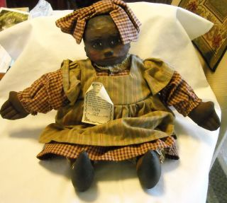 Vintage Arnetts Country Store Wood Resin Folk Art Doll Oda Signed