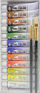 Artist Paint Oil Color 12 PC Includes 2 Brushes Smooth, Bold Colors