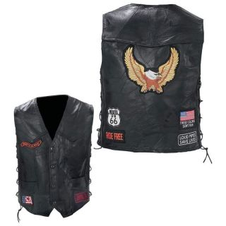 Black Leather Motorcycle Biker VEST jacket w/Eagle Patch ~ M L XL 2XL