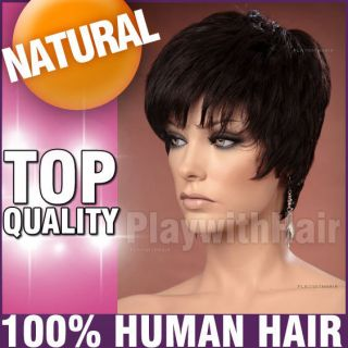 Smart 100 Human Hair Wig Colour Choices Black Brown Auburn