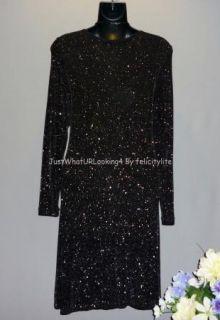 Miss Ashlee Womens Black Shimmer Sparkle Little Black Dress Size M