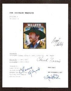 Walker Texas Ranger Script Signed rpt Chuck Norris