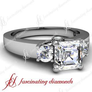 85 Ct Asscher Cut 3 Stone Diamond Trellis Engagement Ring Cut Very