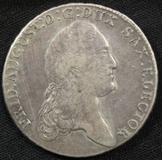 1784 Silver 1 Thaler Friedrich August III German States Coin 64012