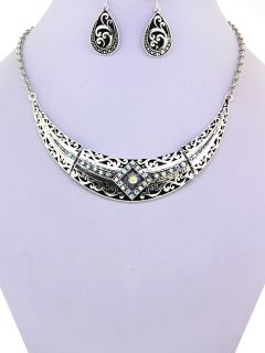 Bay Aurora Borealis Crystal Filigree Bib Fashion Necklace Set