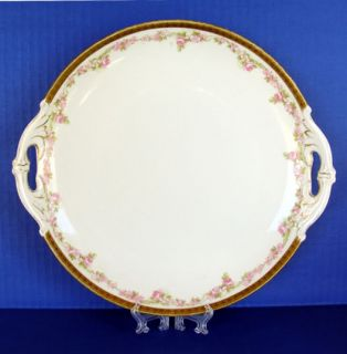 Antique MZ Austria Moritz Zdekauer Roses Gilt Plate Old Gold Roses