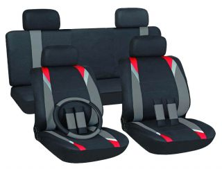 15pc Set Red Gray Black Auto Car Seat Covers + Steering Wheel Belt Pad