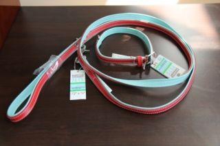 Martha Stewart Designer Leather Dog Collar and Leash Set in Red Blue
