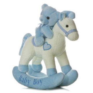 Aurora Baby 12 Plush Musical Wind Up BLUE Rocking Horse & Teddy Bear