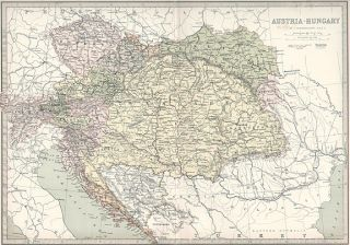 Austria Authentic Antique Map 31x43cm Genuine 132 Years Old Made in