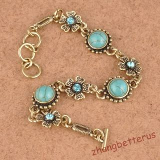 Austrian Crystal Flower Bronze Round Turquoise Beads Adjustable