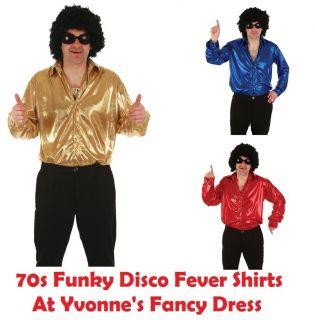 70s Disco Fever Shirt Mens 1970s Metallic Shirts Top