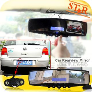 Car Rearview Mirror with Wireless Parking Camera Video Bluetooth