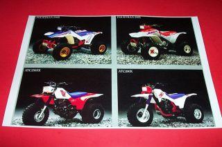 87 Honda ATV ATC Performance Line Up Poster 250R TRX