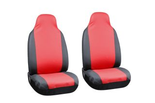Red Black PU Faux Leather High Back Front Bucket SUV Auto Seat Covers