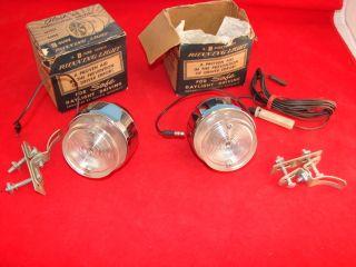 NOS 12 Volt Running Reverse Lights Chrome Accessory 1960s Hot Rod