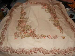 Vintage Linen 52 x 52 Hand Printed Table Cloth Fall Harvest Leaves