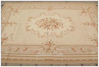 9x12 Aubusson Area Rug Pink Roses Light Blue Background Wool French