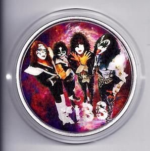 KISS Rock Band Colorized Silver Plated Collectors Commemorative Coin