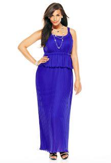 Avenue Plus Size Pleated Peplum Maxi Dress