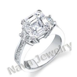82 Ct Asscher Cut Diamond Engagement Ring VS2 G